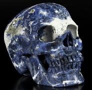 "Giant 7.0"" Sodalite Carved Crystal Skull, Super Realistic"