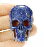 "1.5"" Lapis Lazuli Carved Crystal Skull Pendant with Sterling Silver"