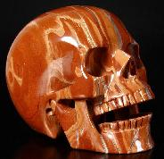 "HUGE 5.2"" Red Jasper Carved Crystal Singing Skull"