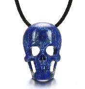 Lapis Lazuli Carved Crystal Skull Pendant with Sterling Silver