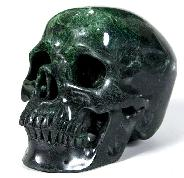 "Huge 7.5"" Green Coral Stone Carved Crystal Skull, Super Realistic"