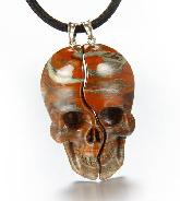 Green Red Jasper Carved Crystal Skull Lover Pendants with Sterling Silver