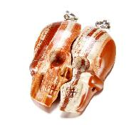 Red Striped Jasper & 925 Sterling Silver Carved Crystal Skull Lover Pendants with 925 Sterling Silver