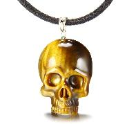 Gemstone Gold Tiger Eye Carved Crystal Skull Pendant with Sterling Silver