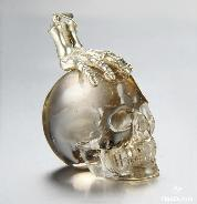 "1.7"" Smoky/Smokey Quartz Rock Crystal Carved Crystal Skull with sterling silver Bones Pendant"