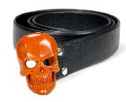 Top Quality Gemstone Red Jasper Carved Crystal Skull Belt with Sterling Silver