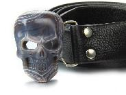 Fine Gemstone Mozambique Agate Carved Crystal Skull Belt #4805480