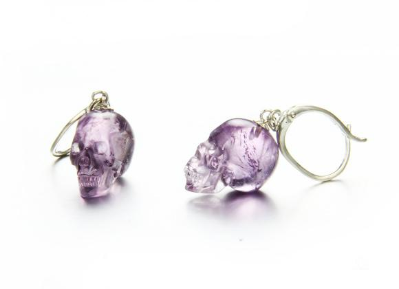 Amethyst Crystal Skull Earrings