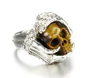 Gemstone Size 10 1/2, Gold Tiger Eye Carved Crystal Skull with sterling silver Bones Ring