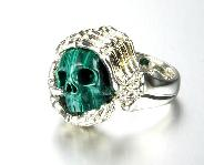Gemstone US Size #12.5, Malachite Carved Crystal Skull with sterling silver Bones Ring