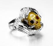 Gemstone Size 9 1/2, Gold Tiger Eye Carved Crystal Skull with sterling silver Bones Ring