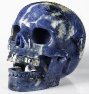 "Huge 5.1"" Sodalite Carved Crystal Singing Skull"