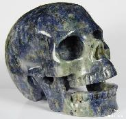 "HUGE 4.9"" Blue Speckled Sodalite Carved Crystal Singing Skull"