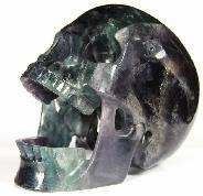 "HUGE 5.3"" Fluorite Carved Crystal Laughing Skull"