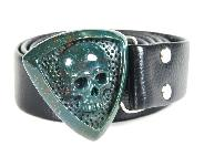 Bloodstone Carved Crystal Skull with Sterling Silver