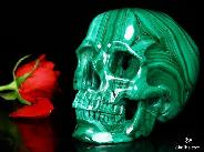 "Stunning Gemstone Huge 5.6"" Malachite Carved Crystal Skull, Super Realistic"