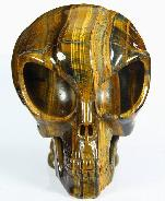 "Awesome Flash Gemstone Huge 5.5"" Gold Tiger Eye Carved Crystal Alien Skull"