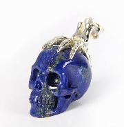 Gemstone Lapis Lazuli Carved Crystal Skull with sterling silver Bones Pendant