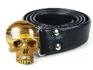 Tiger's Iron Eye Carved Crystal Skull Buckle