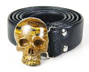 Tiger Iron Eye Carved Crystal Skull Buckle