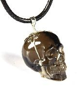 Smokey/Smoky Quartz Rock Crystal Carved Crystal Skull Pendant with Sterling Silver