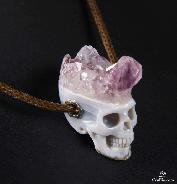 Nice Amethyst Druse Agate Carved Crystal Skull Pendant with Sterling Silver
