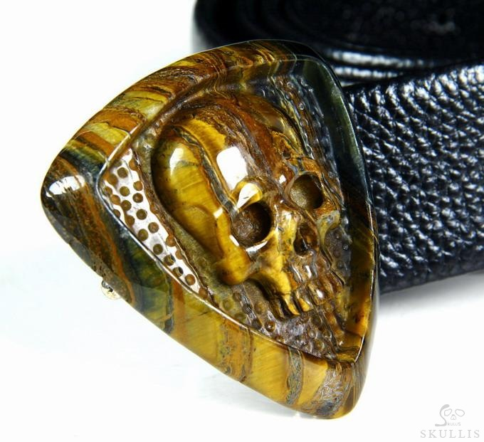 Colorful Tiger Iron Eye Crystal Skull Buckle