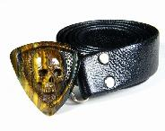 Colorful Tiger Iron Eye Carved Crystal Skull Buckle