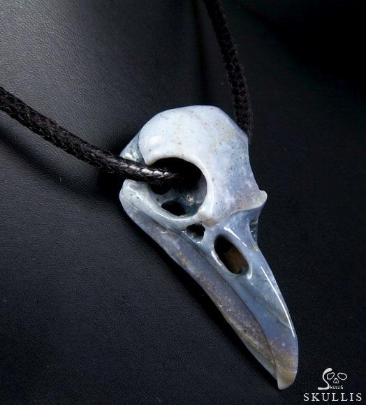Indian Agate Crystal Raven Skull Pendant