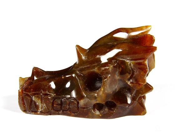 Red Agate Crystal Dragon Skull Pendant