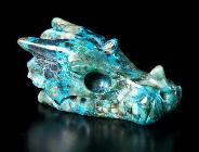 Gemstone American Chrysocolla Carved Crystal Skull Pendant
