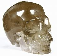 "Huge 5.4"" Smokey/Smoky Quartz Rock Crystal Carved Crystal Skull, Super Realistic"