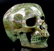 "Huge 5.5"" Green Opal Carved Crystal Skull, Super Realistic"