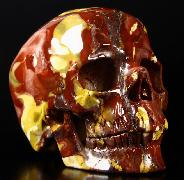 "Huge 5.3"" Colorful Mookaite Jasper Carved Crystal Skull, Super Realistic"