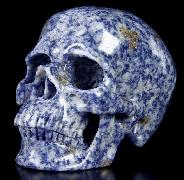 "Huge 5.1"" Blue Speckled Sodalite Carved Crystal Skull, Super Realistic"