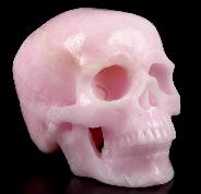 "Huge 5.2"" Pink Aragonite Carved Crystal Skull, Super Realistic"