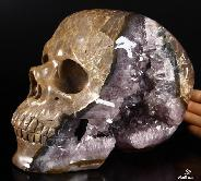 "Unique Amethyst Geode Lifesized 8.0"" Dinosaur Egg Agate Carved Crystal Skull Sculpture"
