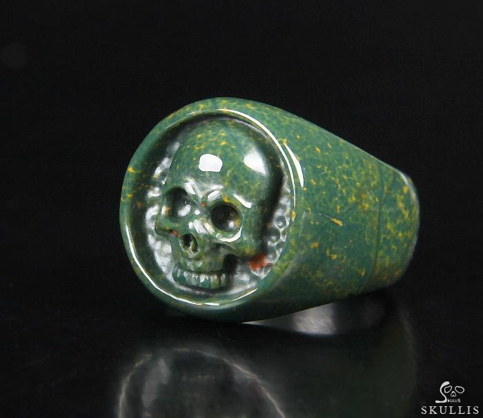 Bloodstone Crystal Skull Ring