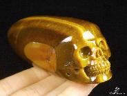 "Gemstone 3.9"" Gold Tiger Eye Carved Crystal Wand Skull"