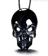 Black Obsidian Carved Crystal Skull Pendant