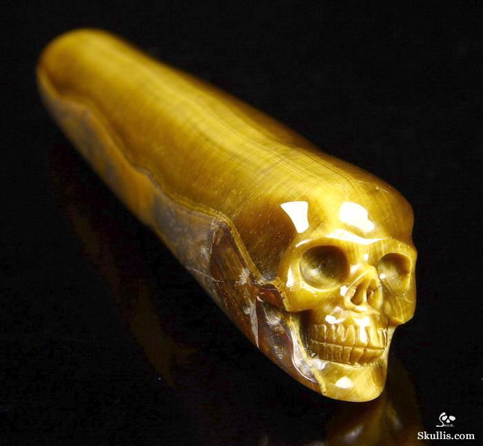 Amazing Flash Gemstone 5 9 Gold Tiger Eye Carved Crystal Wand Skull Skullis Gemstone Crystal Skulls