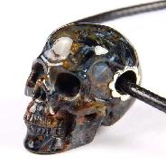 "Gemstone 1.5"" Blue, Gold & Red Pietersite Carved Crystal Skull Pendant, Realistic"