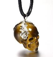 "Gemstone 1.4"" Gold Tiger Eye Carved Crystal Skull Pendant with Sterling Silver"