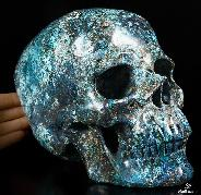 "Gemstone Lifesized 8.3"" American Chrysocolla Carved Crystal Skull, Super Realistic"