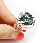 Amazing Flash Gemstone Size 10 1/2, Labradorite Carved Crystal Skull Ring with sterling silver Bones Ring
