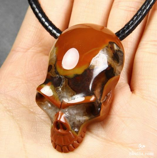 Empire Red Agate Crystal Skull Pendant