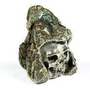 "1.6"" Pyrite Druse Carved Crystal Skull"