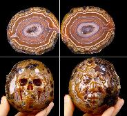 "3.2"" Laguna Lace agate Carved Crystal Skull"