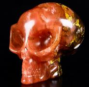 "Huge 4.9"" Smelted Quartz Carved Crystal Skull"