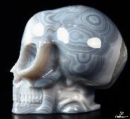 "Huge 5.0"" Grey & White Agate Carved Crystal Alien Skull"
